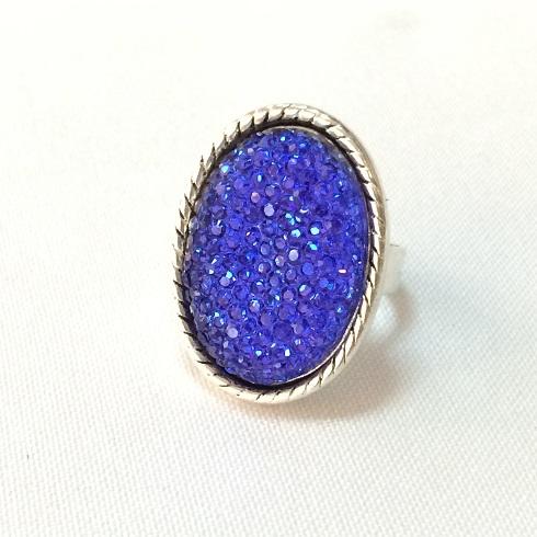Anel ajustável oval azul