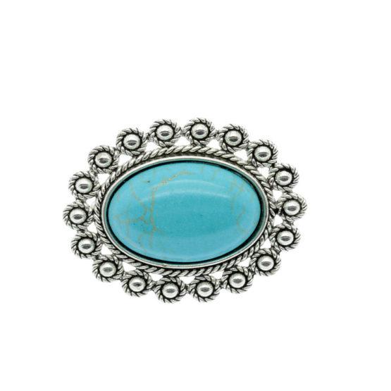 Pregadeira oval azul turquesa