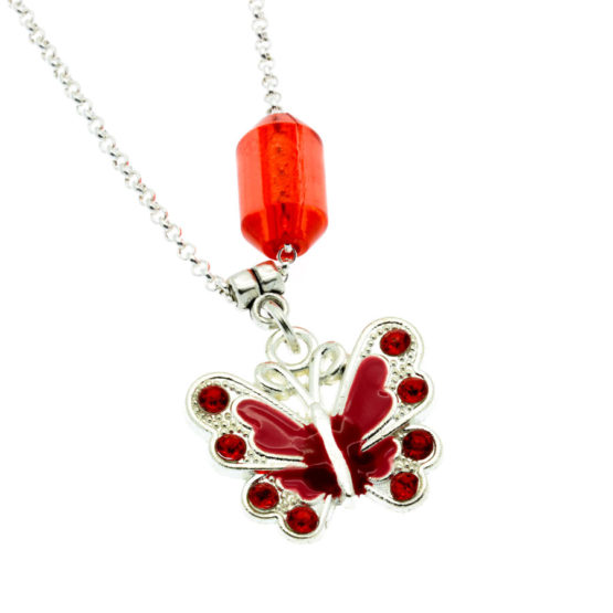 Colar com pendente borboleta vermelha