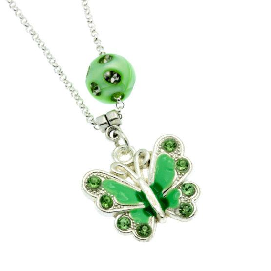Colar com pendente borboleta verde