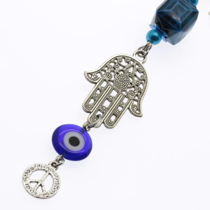 Amuleto da sorte com olho grego e mão de Fátima