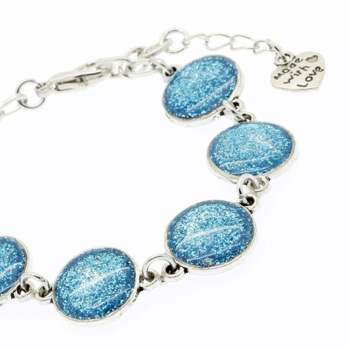 Pulseira de resina brilhante azul