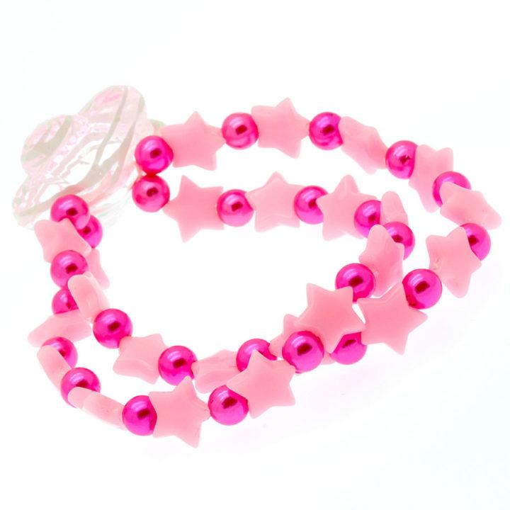 Pulseira elástica rosa com estrelas