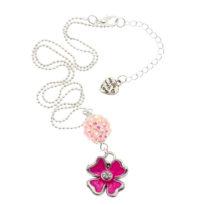 Colar com pendente flor rosa