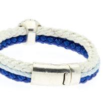 Pulseira de couro azul e branca