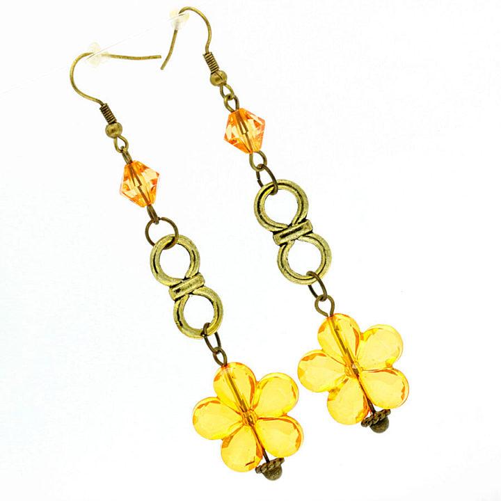 Brincos bronze flor laranja