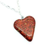Colar coração vermelho brilhante