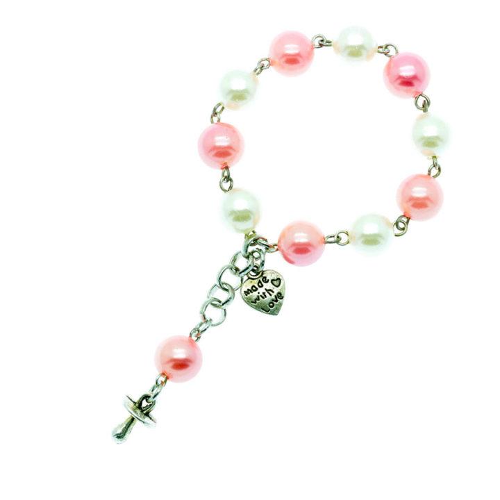 Lembrança para baptizado rosa pérola