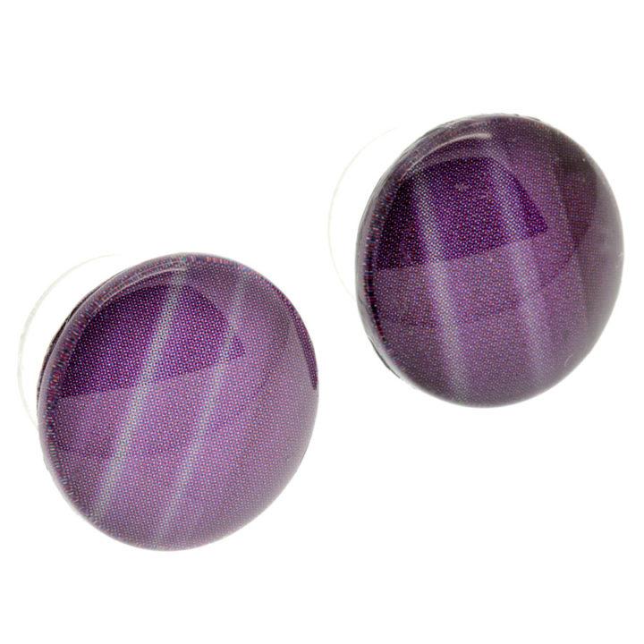 Brincos botão roxo em vidro
