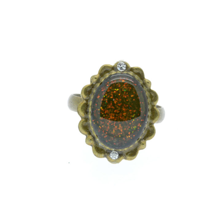 Anel bronze com centro em resina