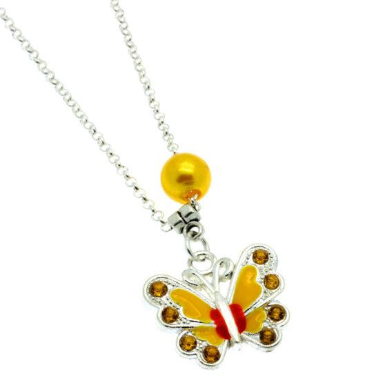 Colar com pendente borboleta amarelo