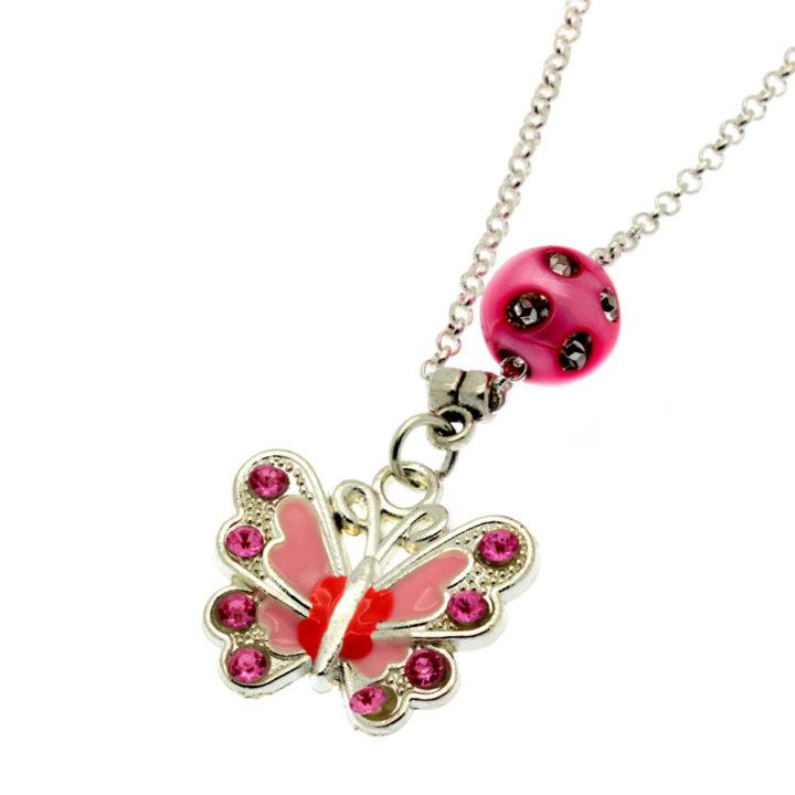 Colar com pendente borboleta rosa