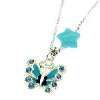 Colar com pendente borboleta azul