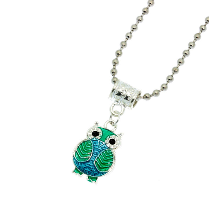 Blue and green owl necklace