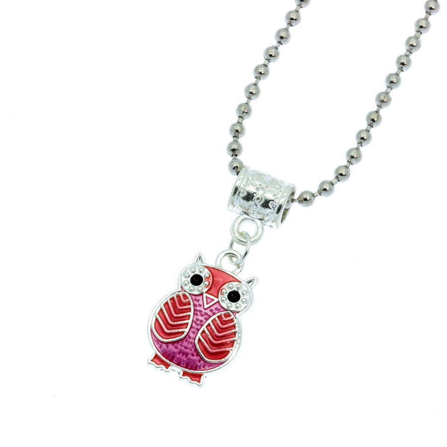 Red and pink owl necklace jafys jewelry exclusive and unique colar mocho vermelho e rosa aloadofball Choice Image