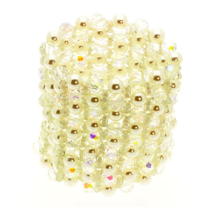 Pulseira pérola e cristal elástica larga para Noivas