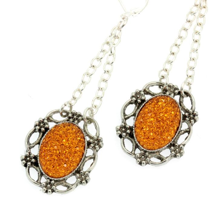 Brincos com pendentes laranja