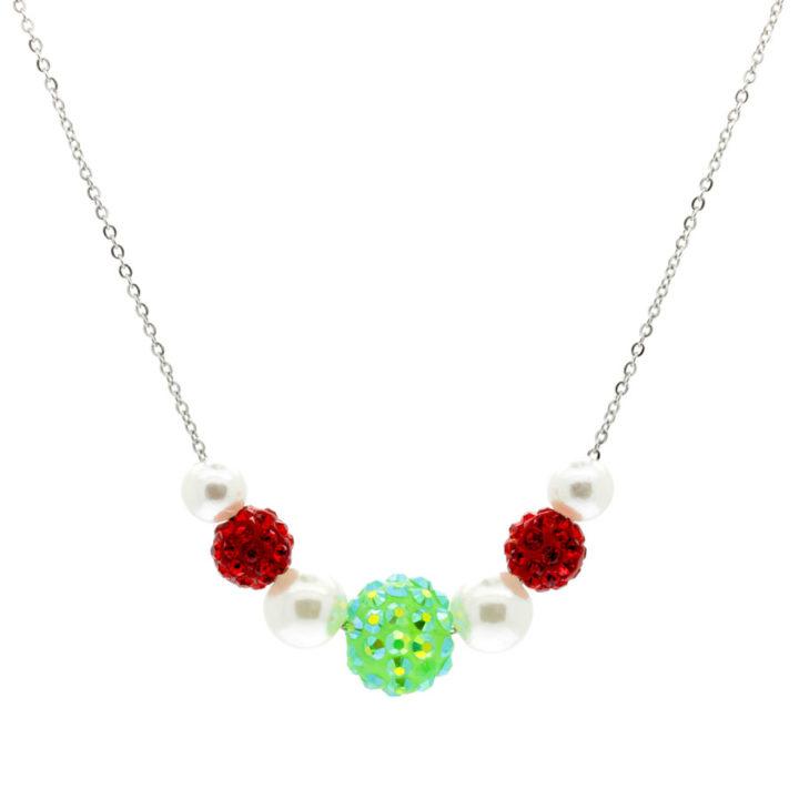 Colar vermelho, verde e branco