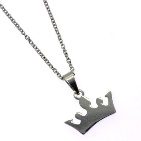 Colar aço inoxidável com coroa