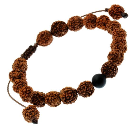 Pulseira Tibetana de sementes com pedra natural Ónix