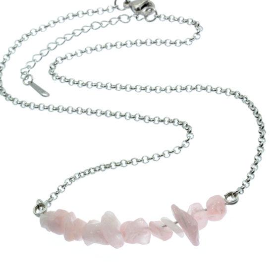Colar com pedras naturais quartz rosa