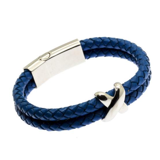 Pulseira de couro azul dupla