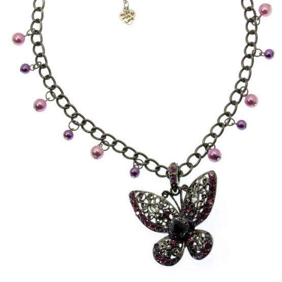 Colar borboleta roxo e lilás