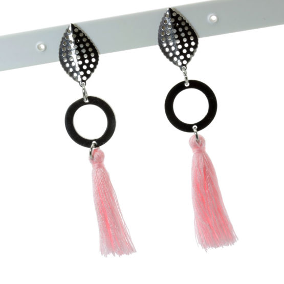 Brincos aço inoxidável com franjas cor-de-rosa