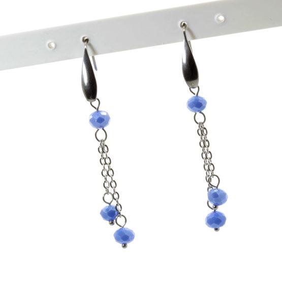 Brincos aço inoxidável com cristais azuis