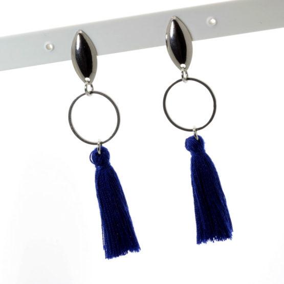 Brincos aço inoxidável com franjas azuis escuras