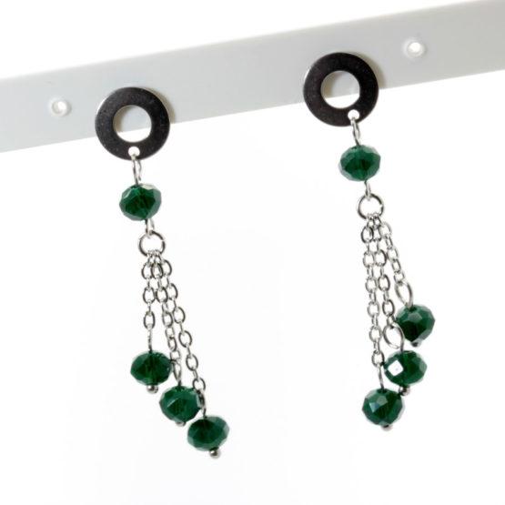 Brincos aço inoxidável com cristais verdes