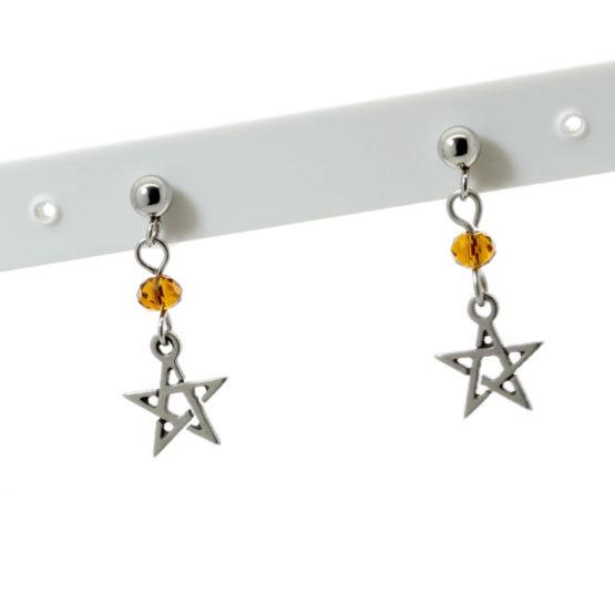 Brincos aço inoxidável com estrelas e cristais