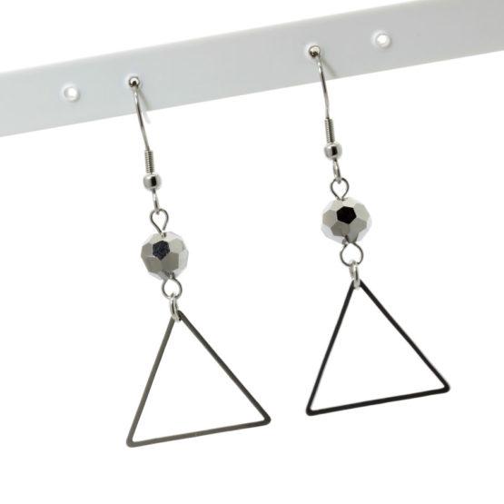Brincos aço inoxidável com triângulos e cristais