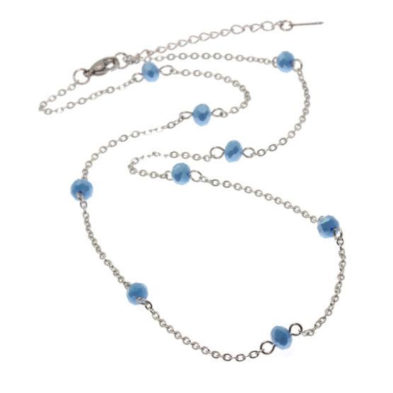 Colar aço com cristais azuis