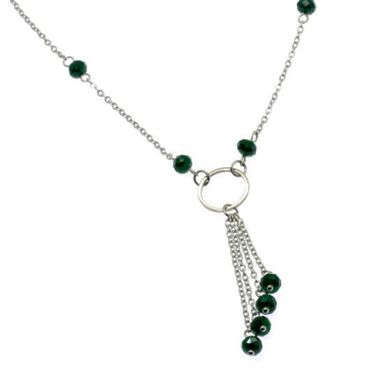 Colar aço com cristais verdes