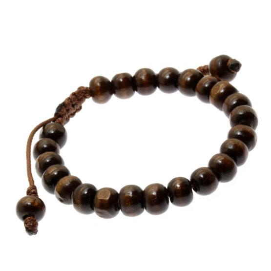 Pulseira Tibetana de madeira castanho escuro