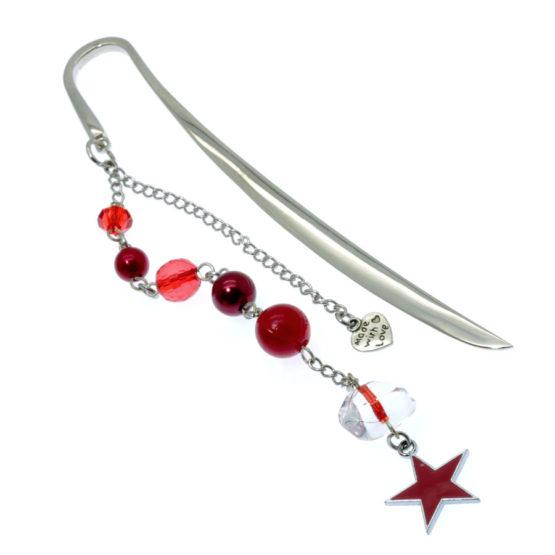 Marcador de livro estrela tons vermelhos