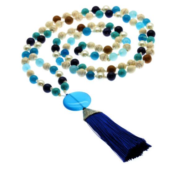 Japamala com pedras naturais Lápis-Lazuli e Turquesa