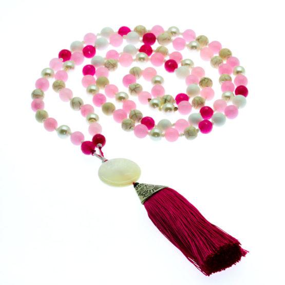 Japamala com pedras naturais ágata e quartz rosa