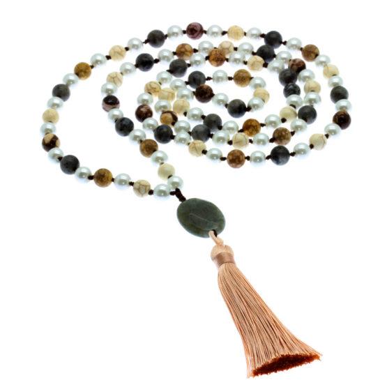 Japamala com pedras naturais howlita branca e jaspe