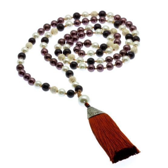 Japamala com pedras naturais howlita branca e castanho