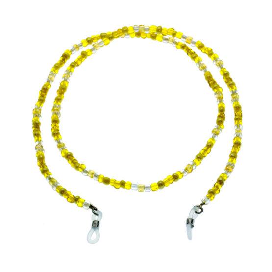 Fita de óculos de missangas amarelo/cristal