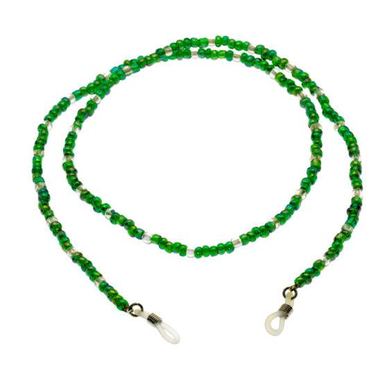 Fita de óculos de missangas verde