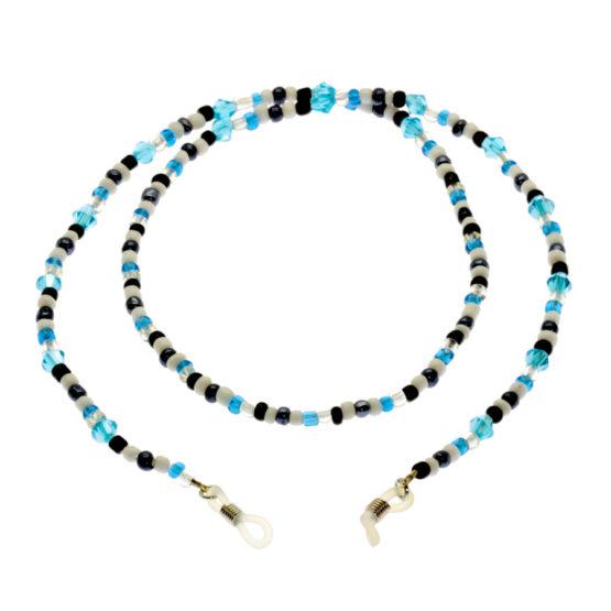 Fita de óculos missangas e cristais azul/branco