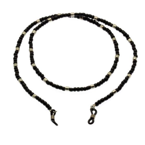 Fita de óculos de missangas preto / prateado