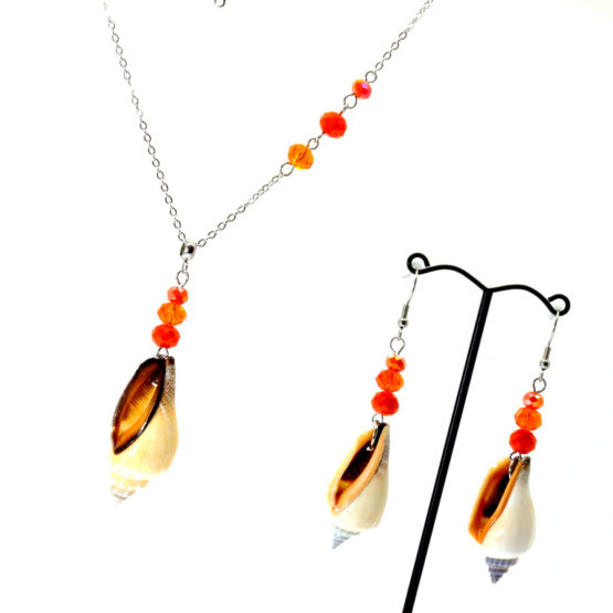 Conjunto colar e brincos búzios laranja