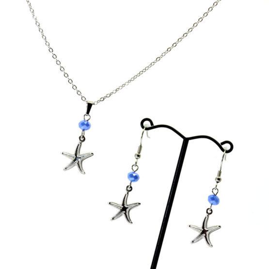 Conjunto colar e brincos estrela do mar azul