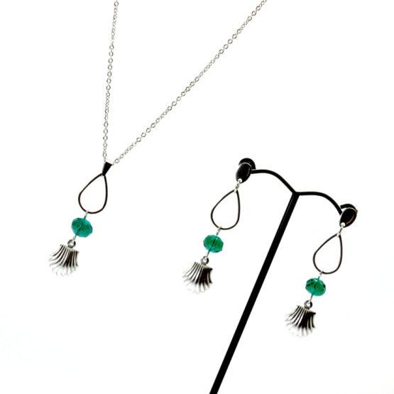 Conjunto colar e brincos conchas verde