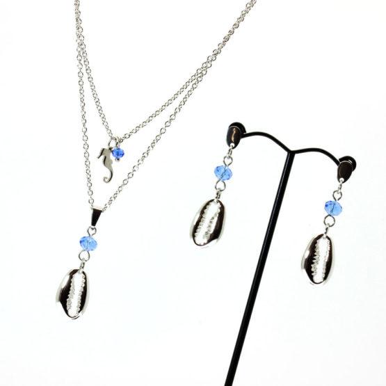 Conjunto colar e brincos búzios azul