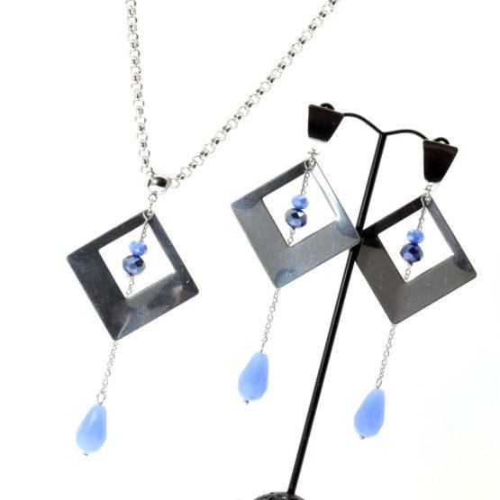 Conjunto colar e brincos quadrado azul